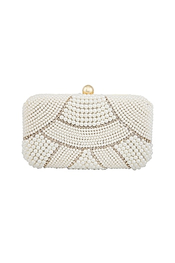 White Pearls Embellished Clutch by Tarini Nirula