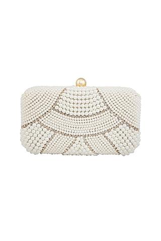 White Pearls Embellished Clutch by Tarini Nirula