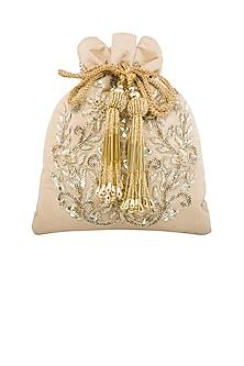 Golden Thread Embroidered Potli by Tarini Nirula