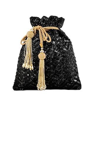 Black Thread Embroidered Potli by Tarini Nirula