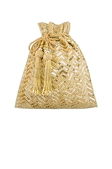 Golden Sequins Embroidered Potli by Tarini Nirula
