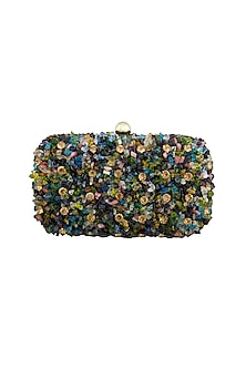 Multi Colored Beads Embellished Clutch by Tarini Nirula