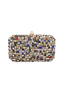 Multi Colored Stones Embellished Clutch by Tarini Nirula