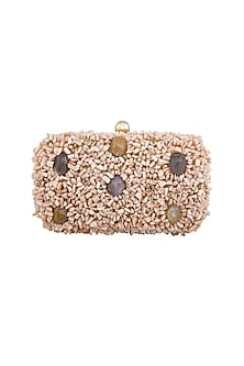 Gold & Peach Embellished Clutch by Tarini Nirula