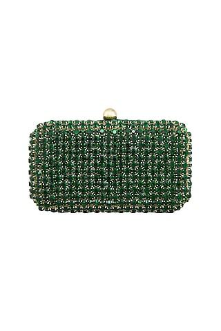 Green Stones Embellished Clutch by Tarini Nirula