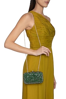 Green Stones Embellished Clutch by Tarini Nirula