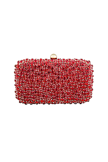 Red Stones Embellished Clutch by Tarini Nirula