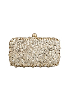 Golden Pearls Embellished Clutch by Tarini Nirula
