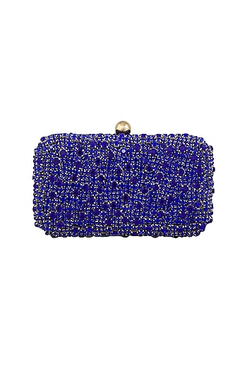 Blue Stones Embellished Clutch by Tarini Nirula