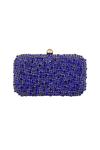 Blue Stones Embellished Clutch by Tarini Nirula