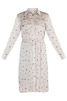 Off White Printed Shirt Dress With Belt by Tara and I