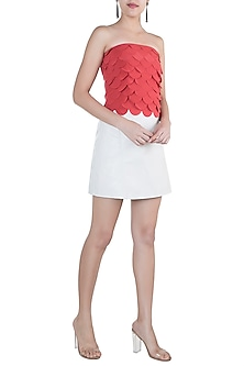 Coral Scallop Layered Bustier Top by Tara and I