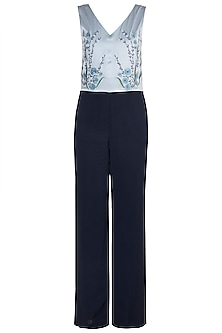 Pearl Blue Embroidered Jumpsuit by Tara and I
