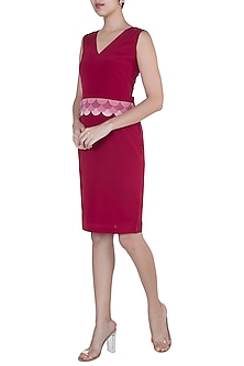 Fuschia Rose Scalloped Layered Sheath Dress by Tara and I