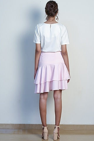 Blush Pink Asymmetrical Layered Skirt by Tara and I