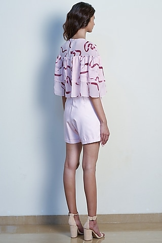 Blush Pink Printed Layered Playsuit by Tara and I