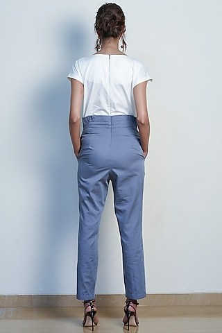 Ivory & Grey Color Blocked Jumpsuit by Tara and I