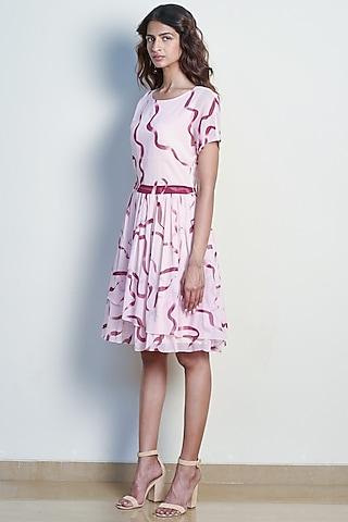 Blush Pink Printed Fit & Flared Dress by Tara and I