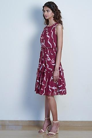Plum Red Ruffled Midi Dress by Tara and I