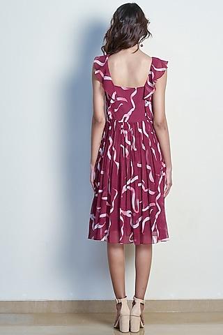 Plum Red Printed Ruffled Dress by Tara and I