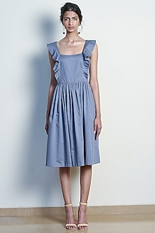 Pearl Grey Dress With Ruffles by Tara and I
