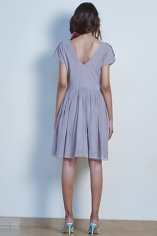 Pearl Grey Gathered Dress by Tara and I