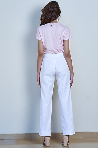 Ivory Straight Fit Trousers by Tara and I