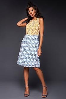 Yellow & Powder Blue Printed Dress by Tara and I