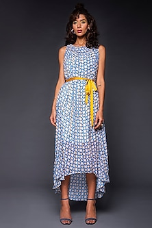 Powder Blue Printed Dress With Yellow Belt by Tara and I