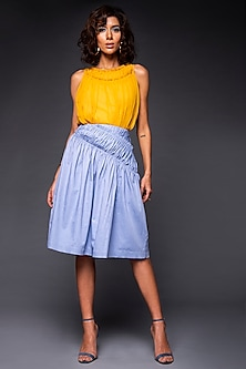 Yellow Cotton Ruched Top by Tara and I