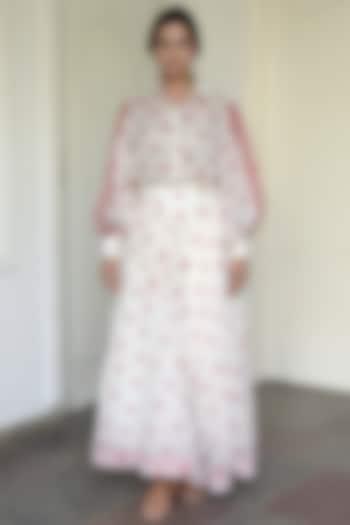 Ivory Block Printed Skirt  by TARO