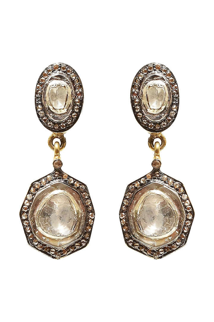 Black Rhodium & Gold Finish Pearl Earrings by The Alchemy Studio
