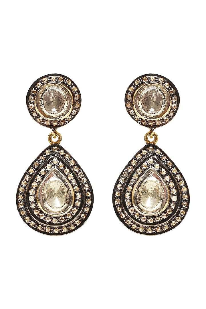 Black Rhodium & Gold Finish Freshwater Pearl Earrings by The Alchemy Studio
