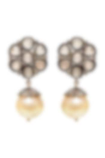 Black Rhodium & Gold Finish Engraved Stone Earrings by The Alchemy Studio