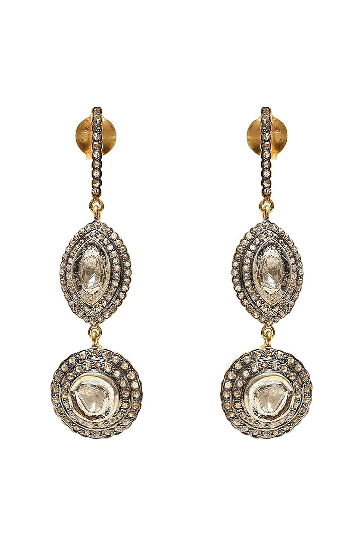 Black Rhodium & Gold Finish Earrings With Polkis by The Alchemy Studio