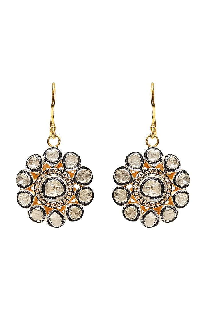 Black Rhodium & Gold Finish Earrings With Diamonds by The Alchemy Studio