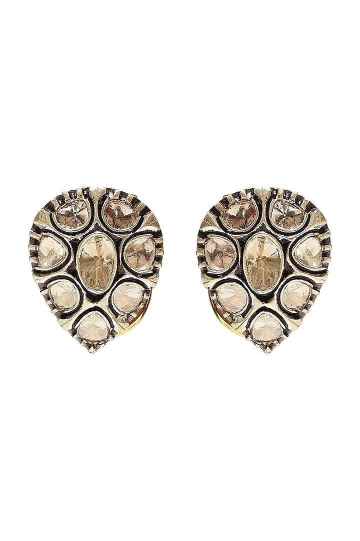 Black Rhodium & Gold Finish Earrings With Gemstones by The Alchemy Studio