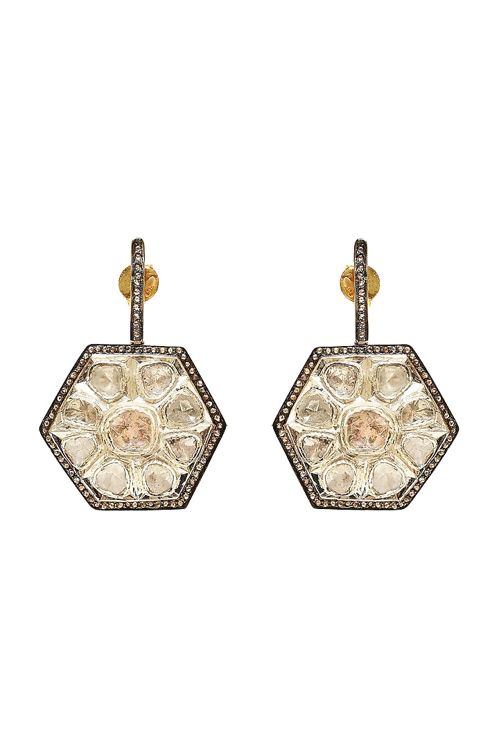 Black Rhodium & Gold Finish Earrings With Engraved Stones by The Alchemy Studio