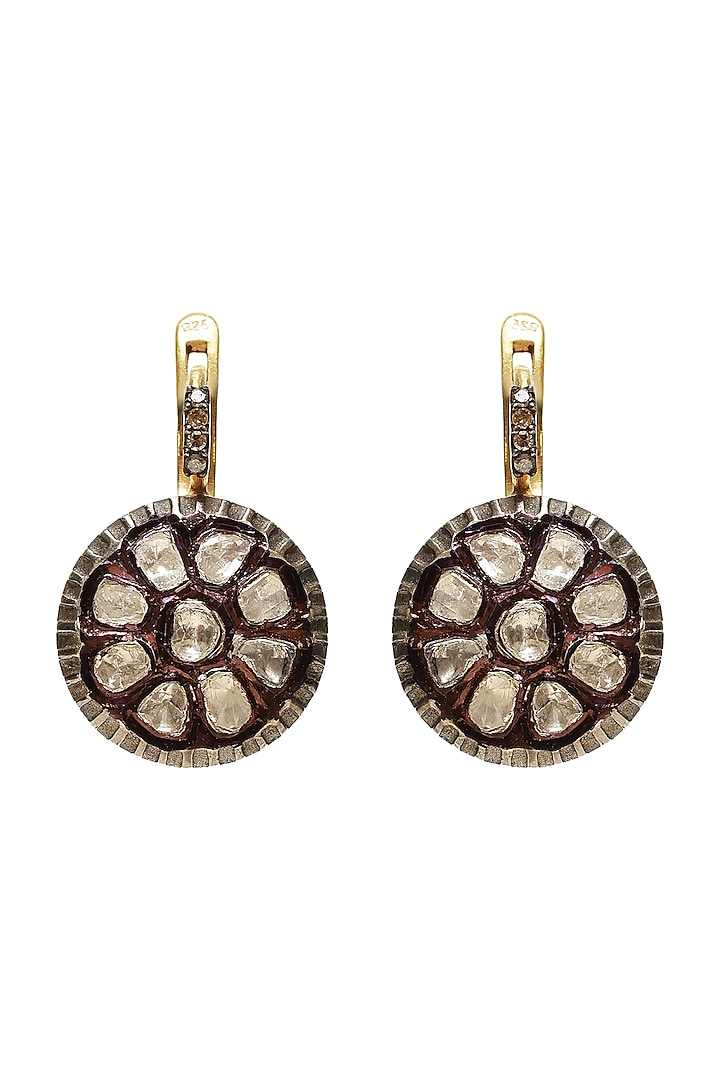 Black Rhodium & Gold Finish Raw Uncut Diamond Earrings by The Alchemy Studio
