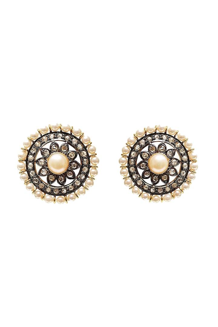 Black Rhodium & Gold Finish Diamond Earrings by The Alchemy Studio
