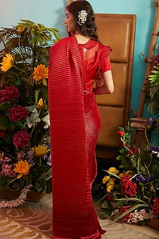 Carmine Maroon Pleated Gown Saree by Tasuvure