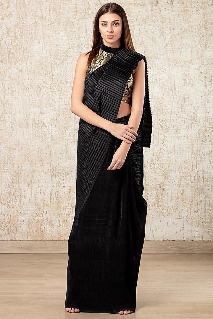 Jade Black Pleated Pre-Stitched Sarees by Tasuvure