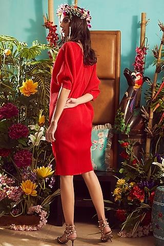 Cherry Red Pleated Mini Dress by Tasuvure