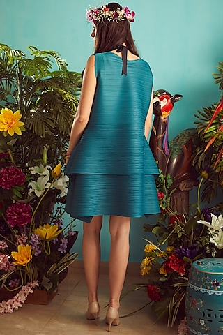 Teal Blue Pleated Polyester Mini Dress by Tasuvure