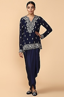 Navy Blue Chikankari Georgette Tunic by Tarun Tahiliani