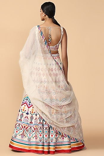 Multi Colored Embroidered Lehenga Set by Tarun Tahiliani