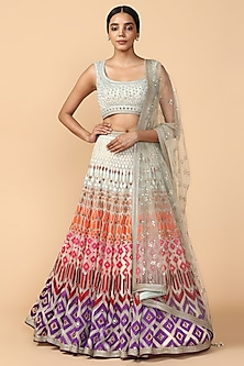 Multi Colored Thread Embroidered Lehenga Set by Tarun Tahiliani