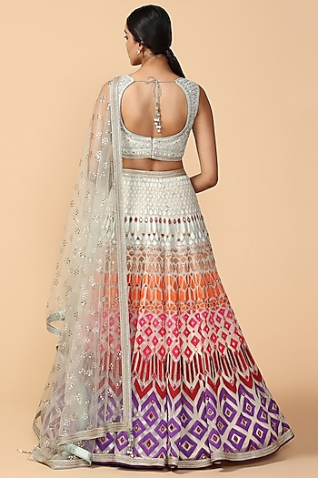 Multi Colored Thread Embroidered Lehenga Set by Tarun Tahiliani