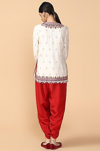 Ivory Thread Embroidered Kurta With Dhoti Pants by Tarun Tahiliani