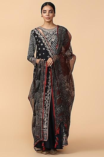 Black Printed & Embroidered Kurta With Pants by Tarun Tahiliani